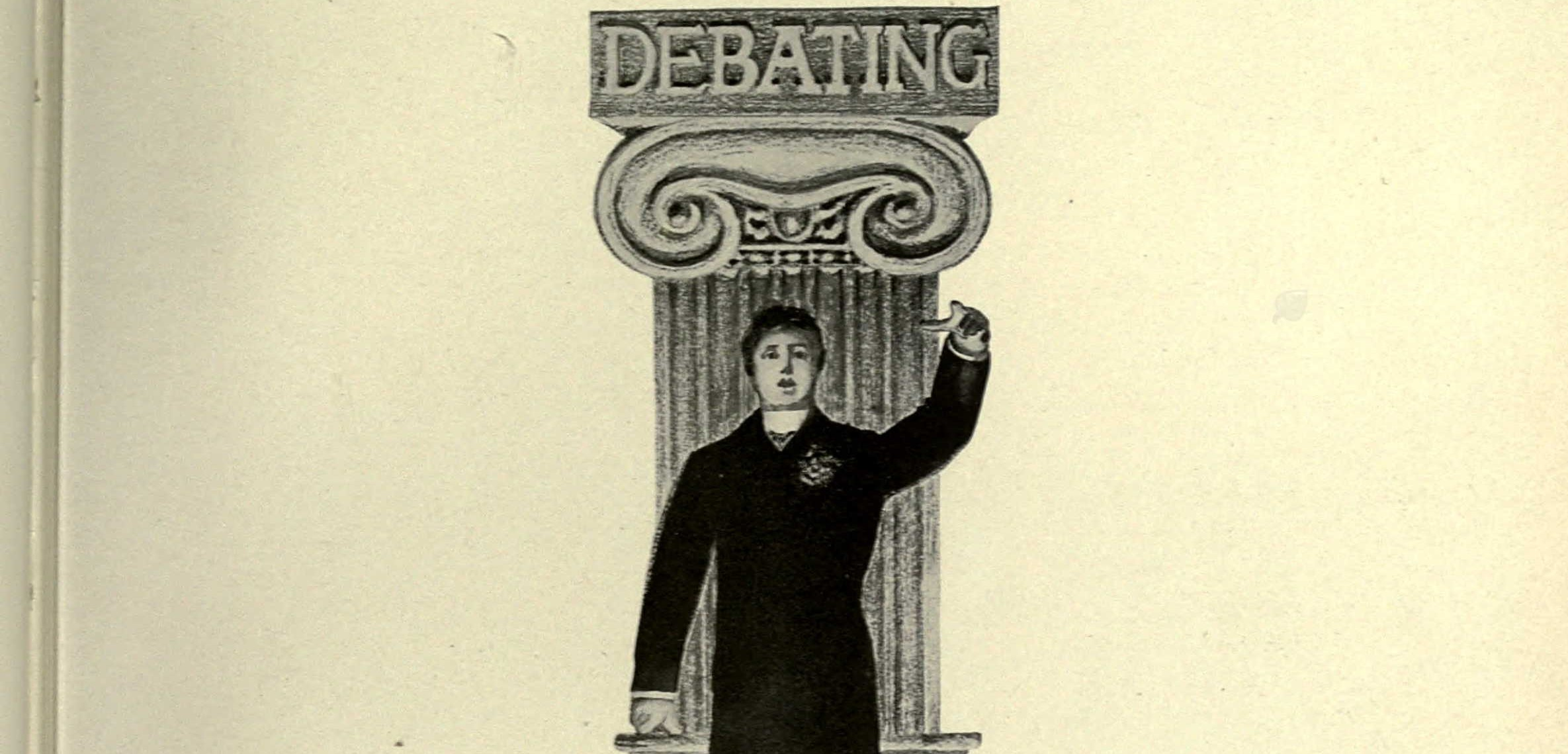 Lithograph from the 1903 Cal yearbook section on debate